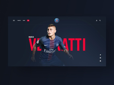 Paris Saint-Germain — Player Page calcio typography sports soccer psg paris media magazine layout grid football