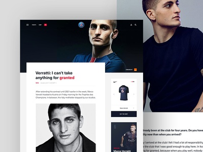 PSG Article blog layout grid clean layout blog article typography football club football calcio