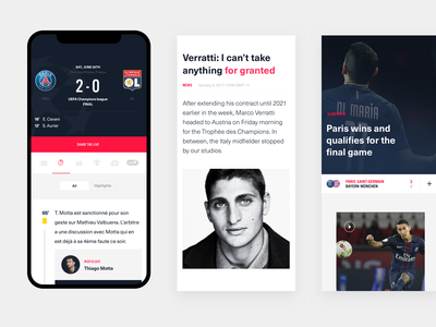 PSG Mobile typogaphy article editorial data calcio soccer foot iphone responsive mobile app sports football