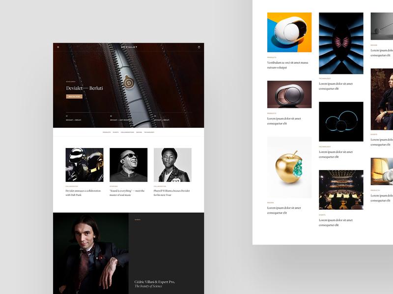 Devialet typography layout minimal grid ecommerce editorial shop audio speaker luxury premium