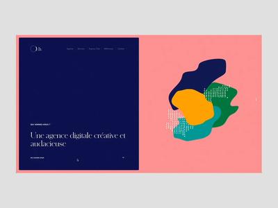 Le Cab' Com motion animation illustration grid layout minimal typography