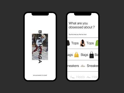 Balenciaga ecommerce app design luxury fashion editorial grid layout typography