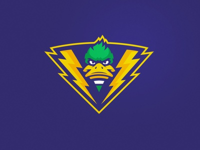 Duck identity team college sport duck game mascot logodesign logo lightning