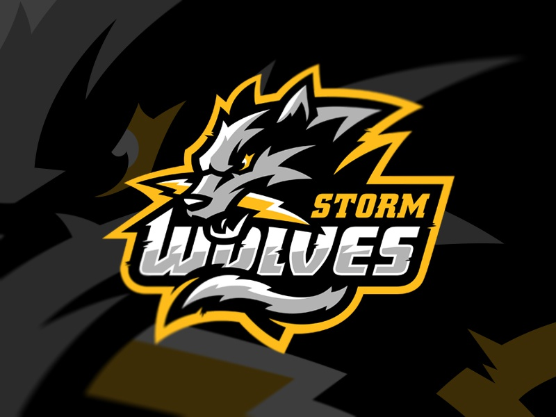 wolf biting a lightning esports mascot logo design