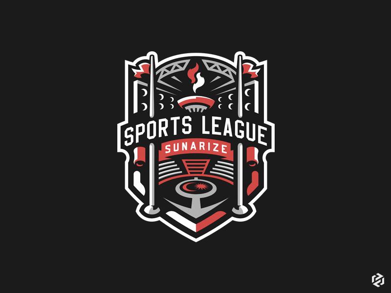 Sports league Sunarize design league arena fire team gaming games mascot logos illustration football concept sport