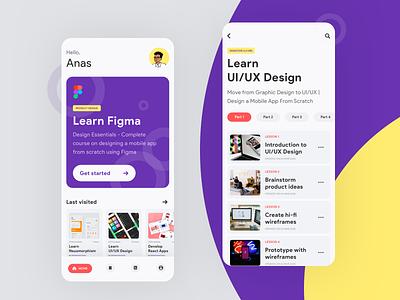 eLearning App interaction typography minimal dailyui app flat ux ui uiux design