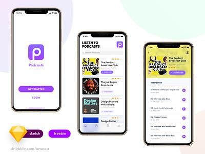 Podcasts App branding clean mobile ios illustrator type logo minimal interaction illustration vector typography icon dailyui flat app ux uiux ui design