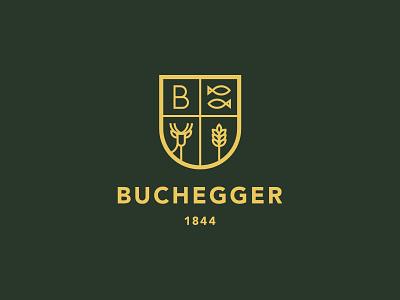 Buchegger Logo traditional yellow green gold grain deer fish restaurant blazon coat of arms line redesign branding logo affinity designer