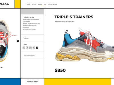 Triple S Trainers georgia ui website web shop shoes mondrian balenciaga inspiration fashion design