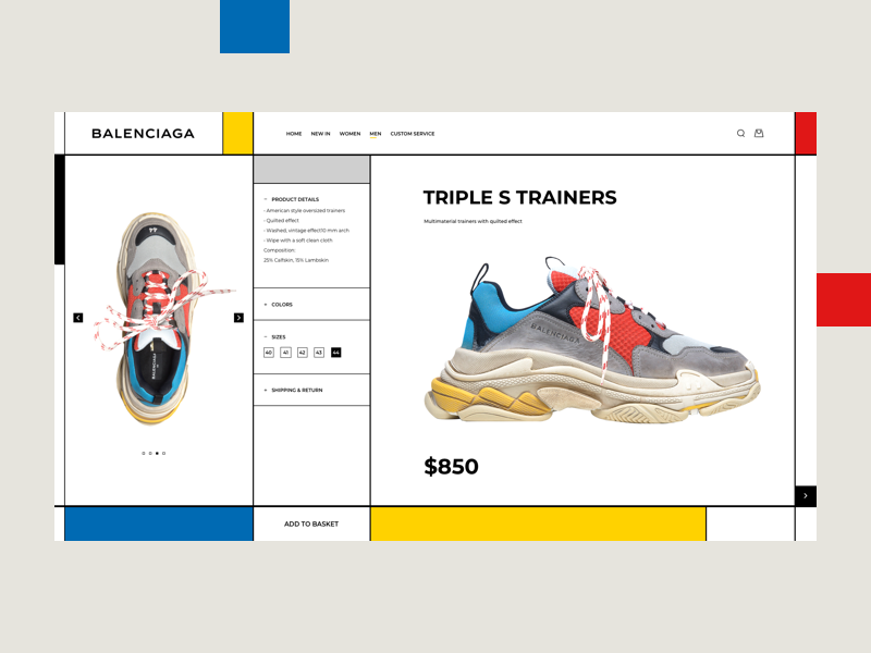 Triple S Trainers ui website web shop shoes mondrian balenciaga inspiration fashion design