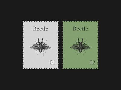 Beetle Postage Stamp vintage graphic design postage stamp beetle branding print illustration
