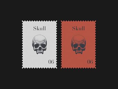 Skull Postage Stamp graphic design vintage postage stamp skull branding illustration print