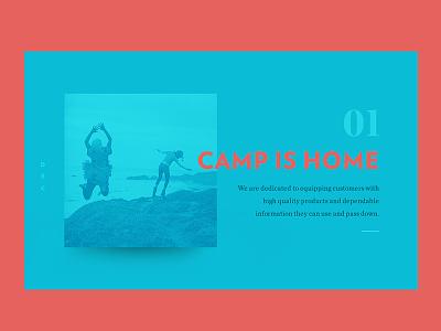 Camp Is Home futura page web landing clarendon verlag design ux ui