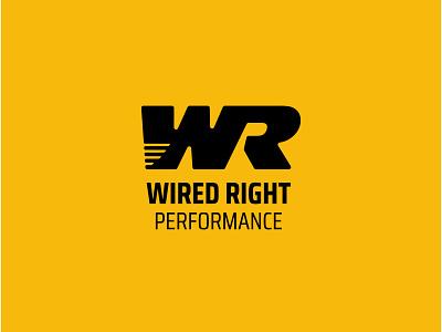 Wired Right Performance Logo sports brand ligature bold logo athletic logo athletic sports design sports logo sports