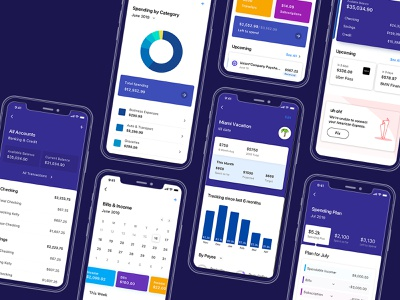 Personal Finance App for iOS product design dashboard ui app dashboard user experience android ios material ui material cards visualization charts data finance purple user interface ux ui design simplifi