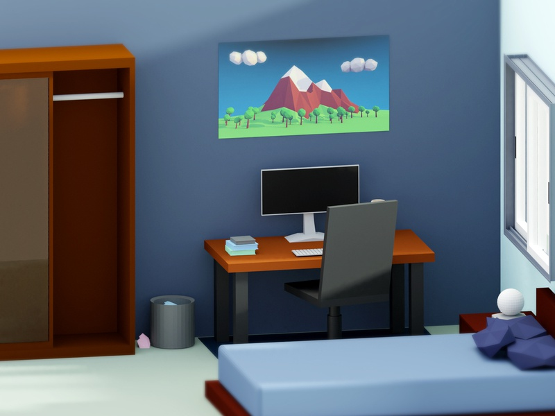 Low Poly room lowpoly ux ui design lowpolyart illustration blender room low poly