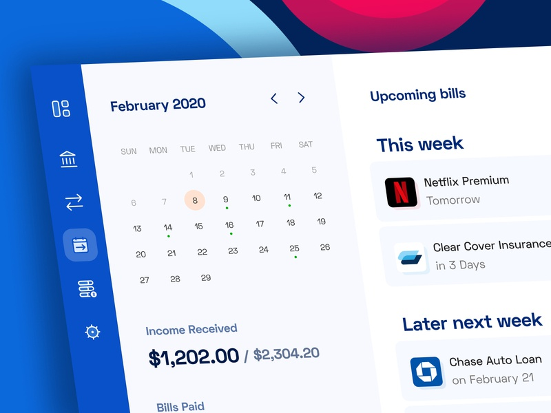 Bill management dashboard ux ui app website design user interface upcoming calendar finance dashboard finance app bill management billing bills bill
