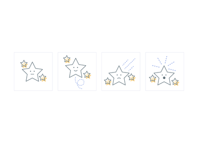 Stars with expression animation icon design design illustration design app ux website user interface expression package star state success icon illustration illustrator