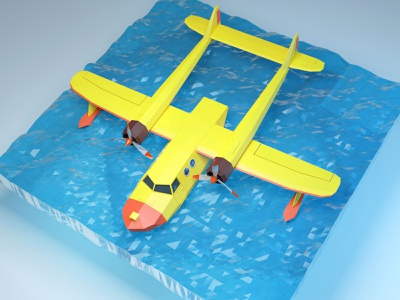 Float Plane (Tale spin) product app design vector illustration illustrator c4d blender 3d low-poly lowpoly