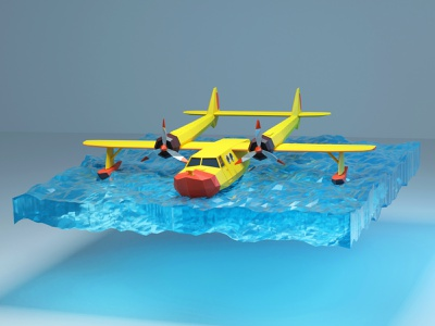 Low poly float seaplane (Tale Spin) designer design talespin planes abstract lowpoly c4d blender branding illustration 3d artwork 3d art 3d