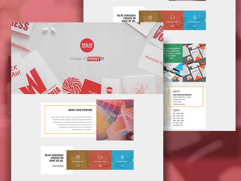 Landing Page for Printing Company website web ux ui design box red home landing page printing