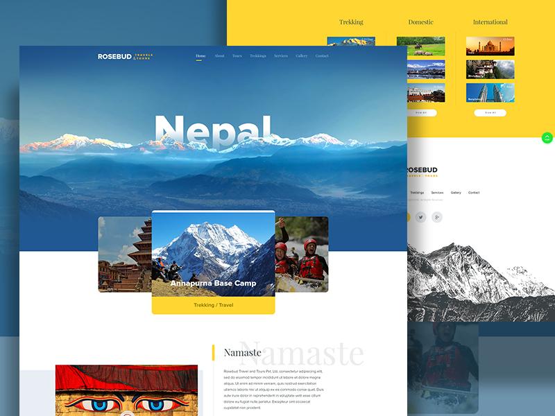 Nepal Travel & Tourism Agency Website  travel tourism trekking travel cms hiking nepal ui ux design wireframe