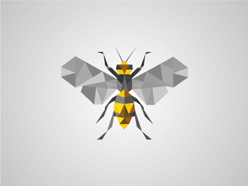 Polygon Bee yellow honey illustrator vector icon logo bee polygon