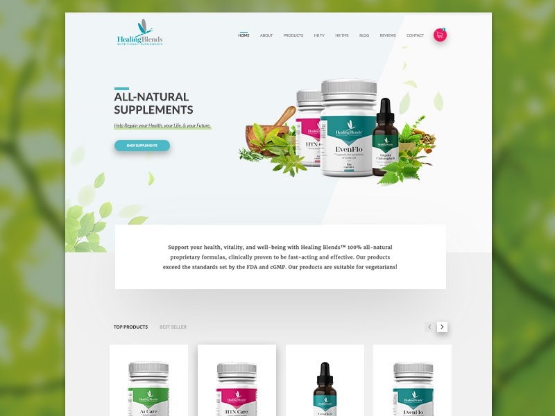 Natural Supplements E-commerce Website product healthy natural green shopping cart ecommerce san francisco user interface ui website