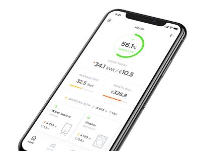 Energy Save App clean app design minimal ios app animation monitor energy save energy application design application ux ui application ui app
