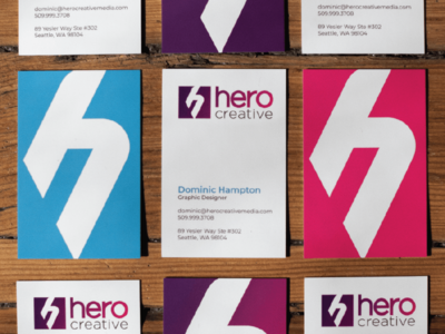 Hero Creative Business Cards branding logo spot gloss gradient print graphic design seattle hero creative business card