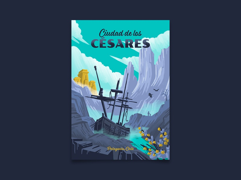 Ciudad de los Césares lost city uncharted patagonia chile adventure travel travel poster