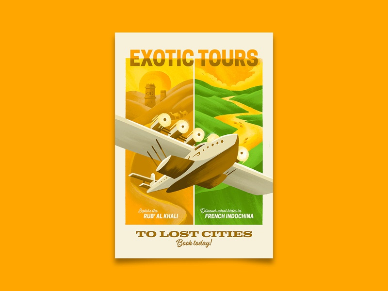 Exotic Tours vietnam ubar uncharted travel lost city vintage adventure travel poster retro poster illustration