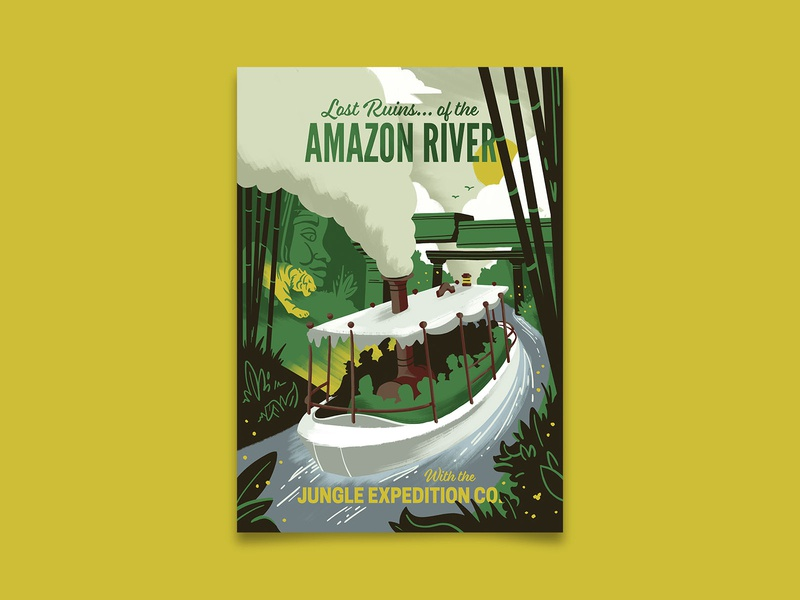 Lost Ruins of the Amazon disneyland jungle cruise amazon uncharted vintage adventure travel poster travel retro poster illustration