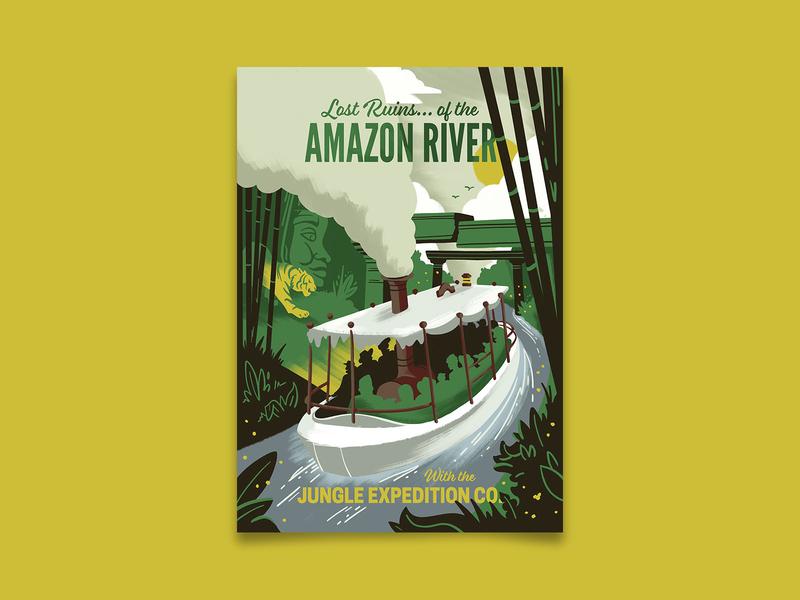 Lost Ruins of the Amazon disneyland jungle cruise amazon uncharted vintage adventure travel poster travel retro poster illustration