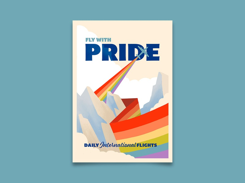 Fly with Pride lost city poster retro adventure travel poster travel pride 2020 pride month pride