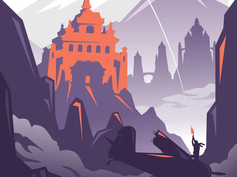 Shangri-La adventure vintage vector retro poster travel travel poster retro poster