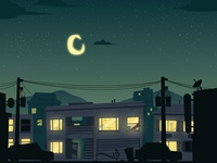 Side-scroller Style City Suburb