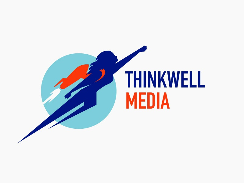 Thinkwell Media modern woman rocket bright colorful vector design logo