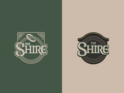 The Shire illustration modern tolkien lord of the rings lettering art logo vector