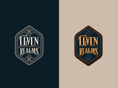 Elven Realms logo tolkien lord of the rings modern art typography illustration vector