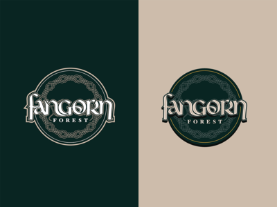 Fangorn Forest tolkien lord of the rings branding vector logo typography illustration