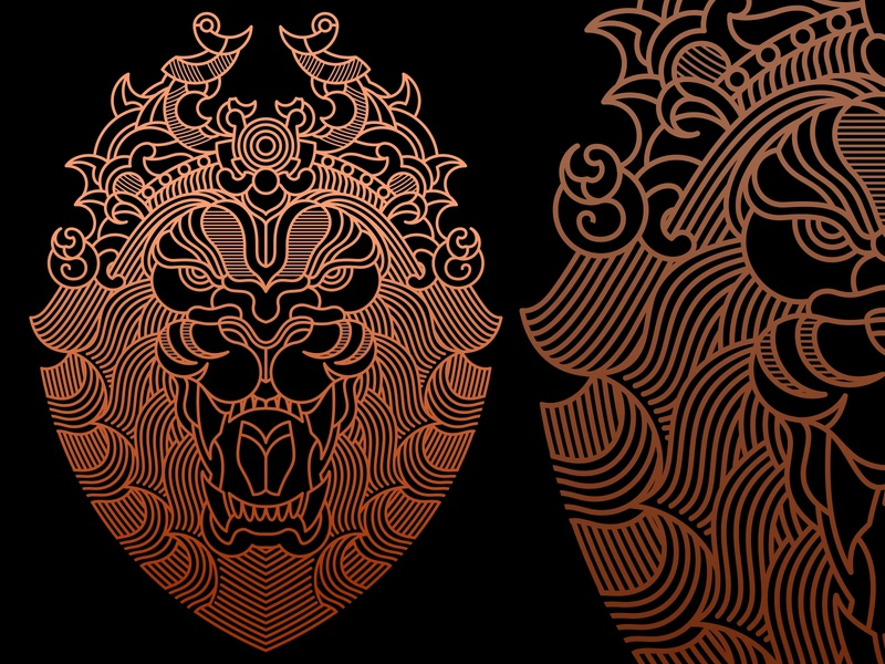 Narashima article poster artwork gold artdeco skateboard bag tshirt clothing apparel lion vector illustration line branding geometric art lineart monoline