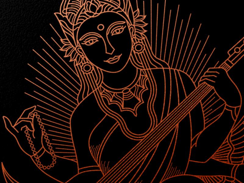 Saraswati Illustration simple minimal branding tshirts print illustrators illustrator gold geometric line lineart tshirt clothing illustration