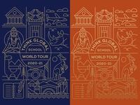 Think Global School shirt design poster tshirt book camera kangaroo animal landmark travel tour school world city icon art symbol geometric lineart illustration line monoline