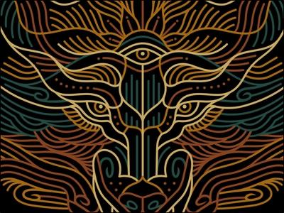 WULV ⚡ outdoors thirdeye eyes animal head apparel design band merchandise wolf animal head artwork t-shirt illustration t-shirt apparel graphics clothing apparel line geometric lineart monoline