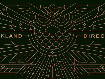 Owl Envelope Illustration owl geometric illustration packaging green gold printing poster print envelope graphic design geometric art design simple illustration minimal art geometric logo lineart line