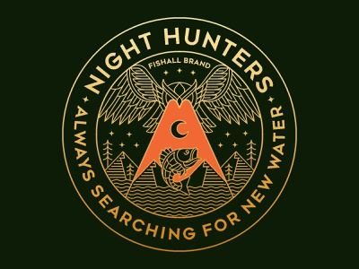 Night Hunters mountain nature outdoor badge fisherman fishing logo t-shirt illustration t-shirt design monoline line minimal illustration geometric lineart merchandise design merchandising merchandise clothing outdoor apparel t-shirt