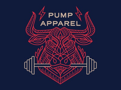 Pump Apparel gym t-shirts merchandise clothing bull line t-shirt mockup t-shirt illustration t-shirt design t-shirt design logo minimal illustration geometric lineart monoline