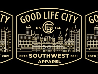 Good Life City t-shirt georgia america map mark illustration branding fashion clothing brand landmark city geometric logotype logo badge design line art clothing apparel badges badge