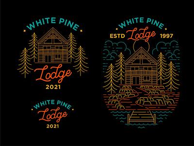 White Pine Lodge T-shirt Design travel hotel branding logo graphic design mountain line illustration clothing apparel t-shirt art minimal geometric lineart monoline